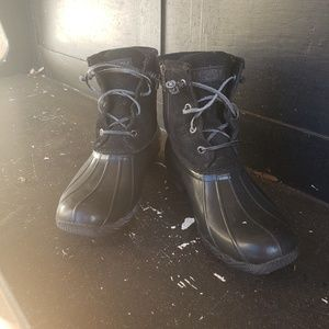 LABOR DAY SALE All Black Sperry Duck Boots